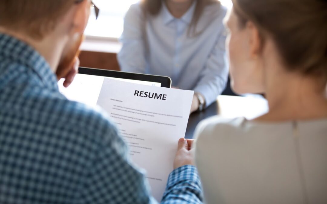 Reading resume at job interview concept, hr employer holding cv examining skills and experience of vacancy position candidate making first impression, employment and hiring, staff recruiting concept